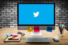 BANGUECOQUE, TAILÂNDIA - 17 DE MAIO DE 2016: Aplicação de Twitter, logotipo o Imagem de Stock Royalty Free