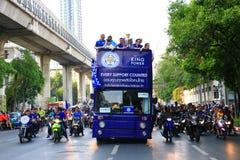 Banguecoque, TAILÂNDIA - 19 de maio de 2016: A cidade de Leicester chega em Banguecoque aos heróis na estrada de Sukhumvit no 19  Foto de Stock Royalty Free