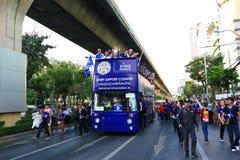 Banguecoque, TAILÂNDIA - 19 de maio de 2016: A cidade de Leicester chega em Banguecoque aos heróis na estrada de Sukhumvit no 19  Fotografia de Stock Royalty Free