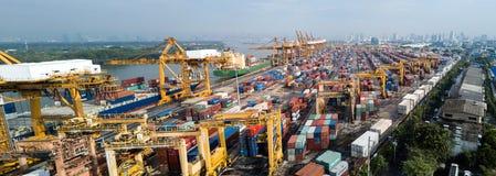 Banguecoque, Tailândia - 13 de maio de 2017: Tiro de Aerail do porto de Banguecoque imagens de stock royalty free
