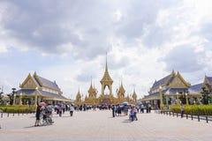 Banguecoque, Tailândia - 10 de novembro de 2017: A exposição real do crematório do rei Bhumibol Adulyadej em SanamLuang Imagem de Stock