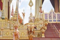 Banguecoque, Tailândia - 10 de novembro de 2017: A exposição real do crematório do rei Bhumibol Adulyadej em SanamLuang Fotografia de Stock Royalty Free