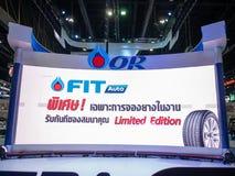 Banguecoque, Tailândia - 30 de novembro de 2018: Líder azul da energia do gás do PTT na EXPO internacional 2018 do MOTOR da expo  fotos de stock royalty free