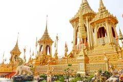 Banguecoque, Tailândia - 4 de novembro de 2017; O ouro Crematoriu real fotos de stock royalty free