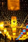 BANGUECOQUE, TAILÂNDIA - DEZEMBRO 27,2015: Colorido da lâmpada fastival Fotos de Stock Royalty Free