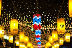 BANGUECOQUE, TAILÂNDIA - DEZEMBRO 27,2015: Colorido da lâmpada fastival Foto de Stock
