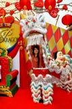 Banguecoque, Tailândia: Menina no traje do dançarino do leão Fotografia de Stock