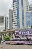 Banguecoque/Tailândia - 08 05 2013: O bloco amarelo das camisas e ocupa Lumphini Foto de Stock