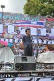 Banguecoque/Tailândia - 08 05 2013: O bloco amarelo das camisas e ocupa Lumphini Imagem de Stock