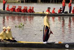 Banguecoque, Tailândia, procissão das barcas reais Fotos de Stock Royalty Free