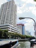 Banguecoque-Tailândia: Um dia em julho Condições do tráfego de água no Fotos de Stock Royalty Free