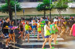 BANGKOK, THAILAND - APRIL 13: Songkran Festival in Bangkok on April 13, 2019 water splashing fun and most popular during the