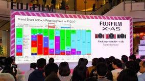 BANGUECOQUE, TAILÂNDIA - 20 DE FEVEREIRO DE 2018: Revele o evento de Fujifilm imagens de stock