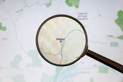 Bangui, Central African Republic. Political map. City visualization illustrative concept on display screen through magnifying glass royalty free stock image