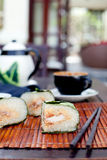 Banh chung, Traditional present for Lunar New Year, Vietnamese  dish. Royalty Free Stock Photo