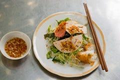 Banh cuon, de Vietnamese gestoomde broodjes van de rijstnoedel stock afbeelding