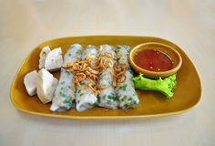 Banh Cuon, Vietnamese food. Banh Cuon, Steamed Fresh Rice Flour Rolls with shallots and ground pork Stock Image