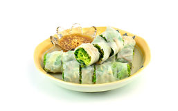 Banh cuon, vietnamese steamed rice noodle roll Royalty Free Stock Image