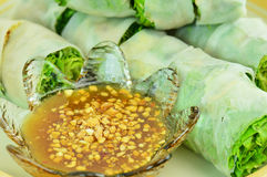 Banh cuon, vietnamese steamed rice noodle roll Royalty Free Stock Photography