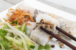 Banh cuon, Vietnamese steamed rice noodle Stock Photo