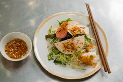 Banh cuon, Vietnamese steamed rice noodle rolls Stock Image