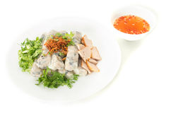 Banh cuon, Vietnamese steamed rice noodle rolls Royalty Free Stock Photos
