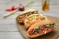 Banh MI, pain vietnamien trois goûts Images libres de droits