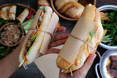 Banh mi, Vietnamese bread. Woman hand make banh mi thit or Vietnamese bread, famous street food from raw material: pork, ham, pate, egg and fresh herbs as stock image