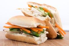 Banh mi vietnamese sandwich. Banh mi - vietnamese sandwich in baguette bread Stock Photography