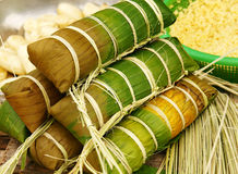 Banh tet, Vietnam glutinous rice cake. Banh tet for Lunar New Year, Vietnam Tet, food make from glutinous rice, meat, green bean, cover by banana leaf, tie by Royalty Free Stock Image