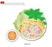 Banh Xeo o pancake croccanti vietnamiti con i gamberetti Immagine Stock