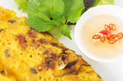 Banh Xeo, Vietnamese pancake close up shot with vegetables and f Royalty Free Stock Photos