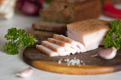 Banha salgada cortada da carne de porco (salo) Fotografia de Stock