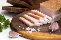 Banha salgada cortada da carne de porco (salo) Foto de Stock