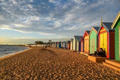 Banhando caixas em Brighton Beach, Melbourne Imagens de Stock