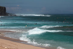 Banhando a zona na praia de Boucan Canot, reunião Fotos de Stock Royalty Free