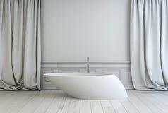 Banheira autônoma contemporânea em um banheiro Fotografia de Stock Royalty Free