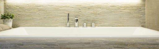 Banheira da porcelana no banheiro luxuoso imagem de stock