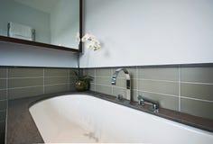 Banheira luxuosa com revestimento de pedra Fotografia de Stock Royalty Free