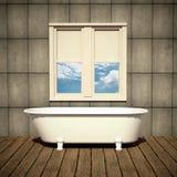 Banheira minimalista em um banheiro retro Ilustração do Vetor