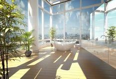 Banheira moderna contra grandes janelas Fotografia de Stock Royalty Free