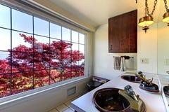 Banheiro antigo velho com bordo vermelho e os dissipadores dobro. Fotografia de Stock Royalty Free