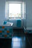 Banheiro branco colorido com assoalho preto Fotografia de Stock Royalty Free
