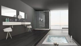 Banheiro branco e cinzento minimalista com banheira e panorâmico foto de stock