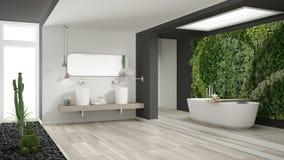 Banheiro branco e cinzento minimalista com vertical e a planta carnuda g foto de stock