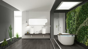 Banheiro branco e cinzento minimalista com vertical e a planta carnuda g fotos de stock