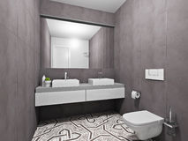 Banheiro cinzento na moda Foto de Stock