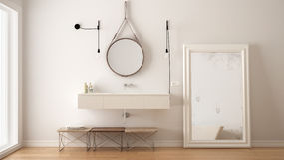 Banheiro clássico, design de interiores minimalistic moderno foto de stock royalty free