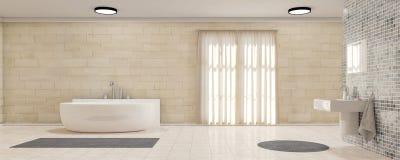 Banheiro com panorama das cortinas Fotografia de Stock Royalty Free