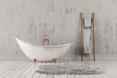 Banheiro com tapete e toalhas, assoalho de madeira e parede áspera Foto de Stock